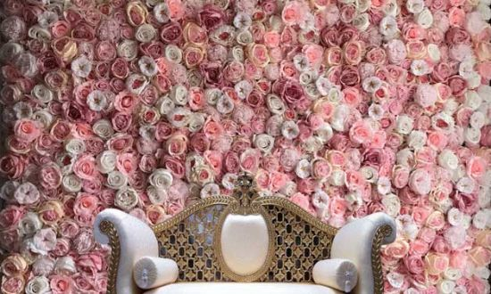 Pink Beige Rose and Peony Flower Wall